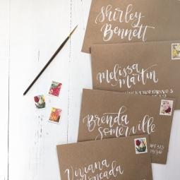 Sam Allen Creates Watercolor Envelope Addressing Bridal Shower