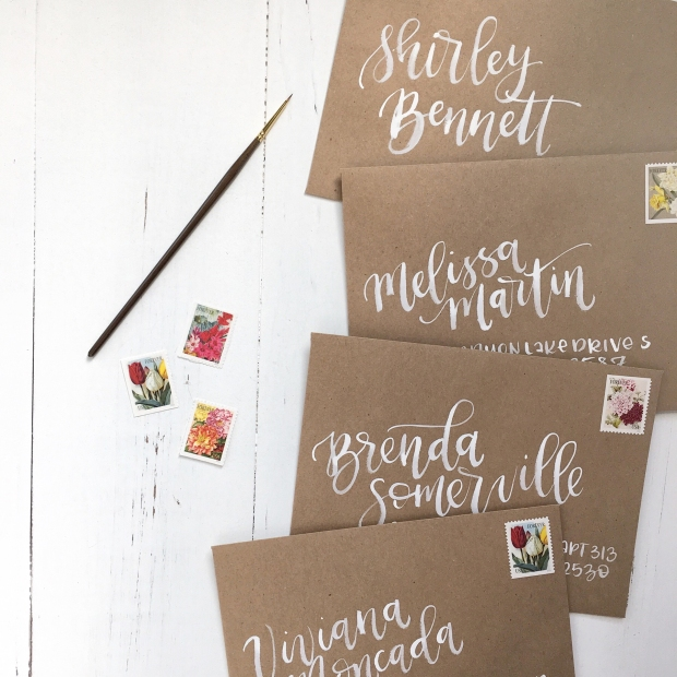 Sam Allen Creates Watercolor Envelope Addressing Bridal Shower