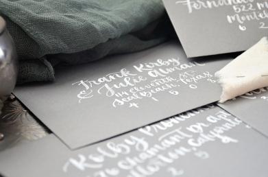 Sam Allen Creates Watercolor Wedding Invitation Envelope Addressing detail