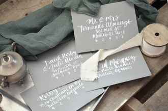 Sam Allen Creates Watercolor Wedding Invitation Envelope Addressing