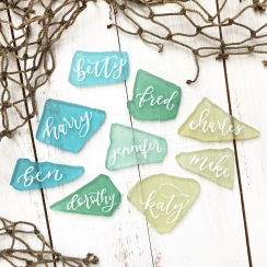 Sam Allen Creates Wedding placecards sea glass