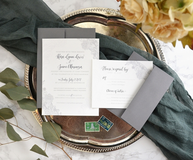 Sam Allen Creates Gray Lace Wedding Invitation