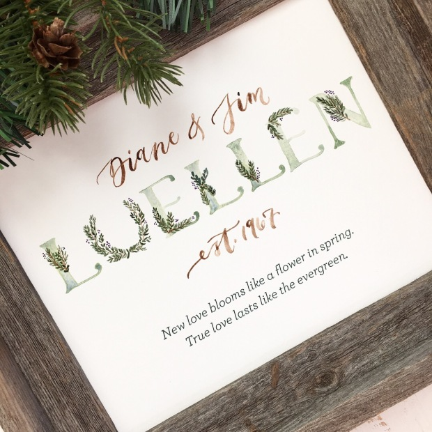 Sam Allen Creates Family Name Sign Evergreen Winter Painting