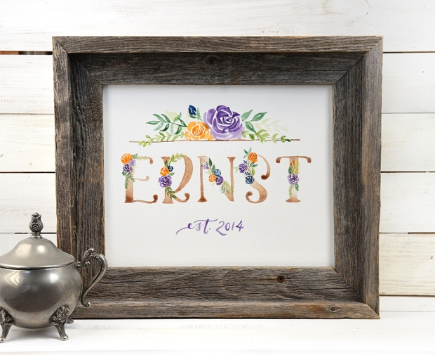 Sam Allen Creates Family Name Sign Watercolor painting
