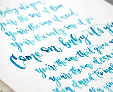 Sam Allen Creates Handwritten Watercolor Wedding Vows Love Letter Beyonce lyrics detail
