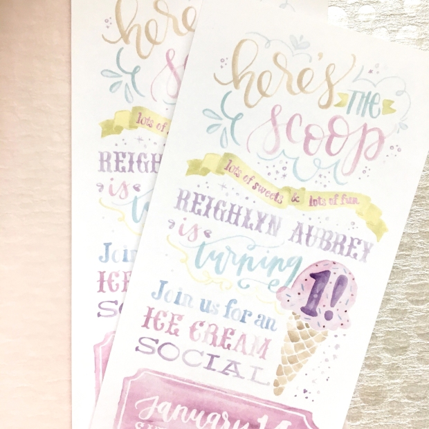 Sam Allen Creates Ice Cream Social Birthday Party Invitation