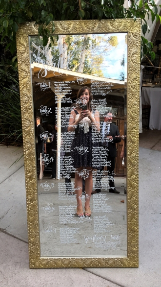 Sam Allen Creates Mirror Wedding Table Seating Chart Selfie
