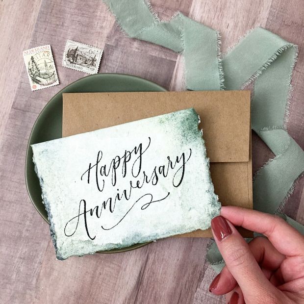 Sam Allen Creates, Etsy Shop 5 Year Anniversary - Watercolor Anniversary Card on Fabulous Fancy Pants paper