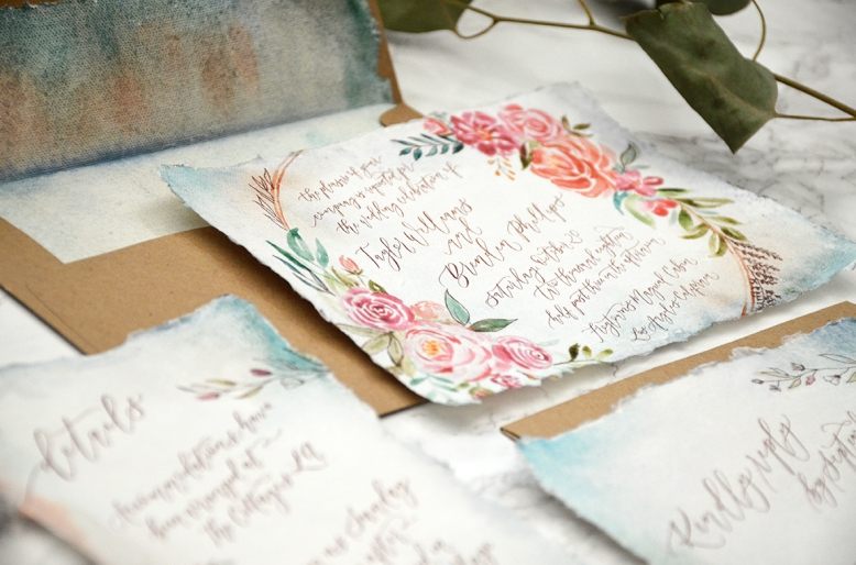 Sam Allen Creates - Boho Watercolor Flower Wreath Handmade Paper Wedding Invitation 2