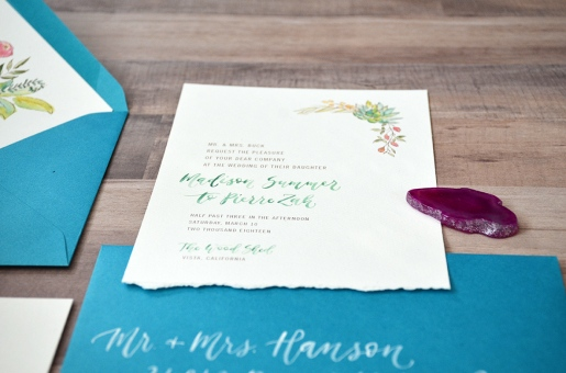 Sam Allen Creates - Boho Wedding Invitation with Watercolor Succulents and Flowers Detail