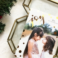 Sam Allen Creates Custom Christmas Card Design with Gold Foil Polka Dots and Handlettering