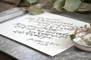 Sam Allen Creates Watercolor Calligraphy Wedding Vows Art detail