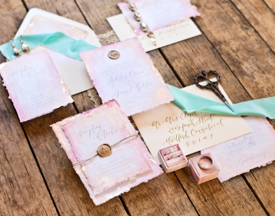 Sam Allen Creates Watercolor Wash Wedding Invitation at Grace Winery, Photography and Styling by Abbe Foreman