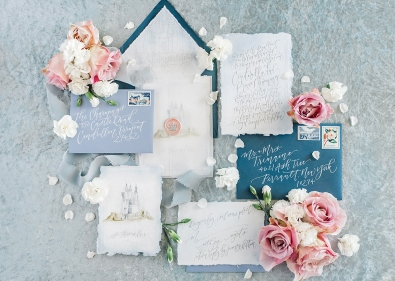 Sam Allen Creates - Disney Inspired Cinderella Wedding Invitation - Invitation Suite Flatlay