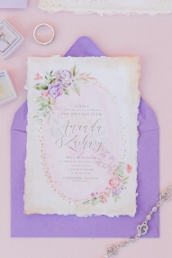 Sam Allen Creates - Rapunzel Inspired Wedding Invitation with Watercolor Flowers on Handmade Paper - Invitation - Photo by Jess Palatucci