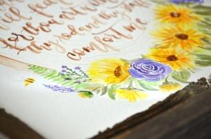 Sam Allen Creates - Psalm 23 Sunflower Watercolor Painting Detail2